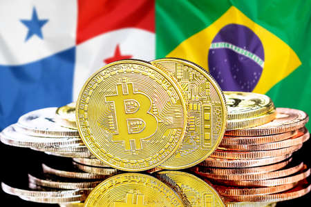 Concept for investors in cryptocurrency and Blockchain technology in the Panama and Brazil. Bitcoins on the background of the flag Panama and Brazil.