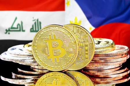 Concept for investors in cryptocurrency and Blockchain technology in the Iraq and Philippines. Bitcoins on the background of the flag Iraq and Philippines.
