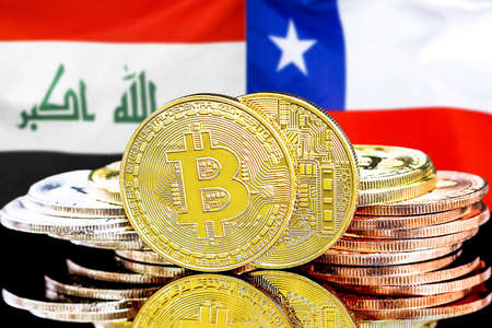 Concept for investors in cryptocurrency and Blockchain technology in the Iraq and Chile. Bitcoins on the background of the flag Iraq and Chile.
