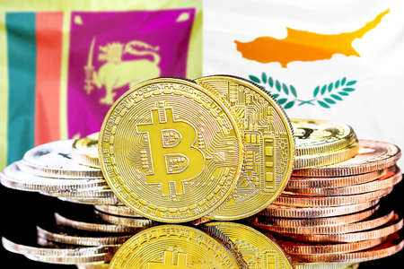 Concept for investors in cryptocurrency and Blockchain technology in the Sri Lanka and Cyprus. Bitcoins on the background of the flag Sri Lanka and Cyprus.