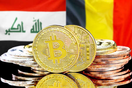 Concept for investors in cryptocurrency and Blockchain technology in the Iraq and Belgium. Bitcoins on the background of the flag Iraq and Belgium. Foto de archivo