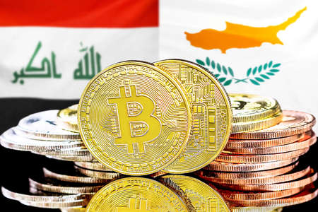 Concept for investors in cryptocurrency and Blockchain technology in the Iraq and Cyprus. Bitcoins on the background of the flag Iraq and Cyprus.