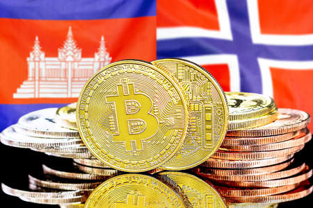 Concept for investors in cryptocurrency and Blockchain technology in the Cambodia and Norway. Bitcoins on the background of the flag Cambodia and Norway.