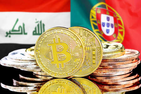 Concept for investors in cryptocurrency and Blockchain technology in the Iraq and Portugal. Bitcoins on the background of the flag Iraq and Portugal.