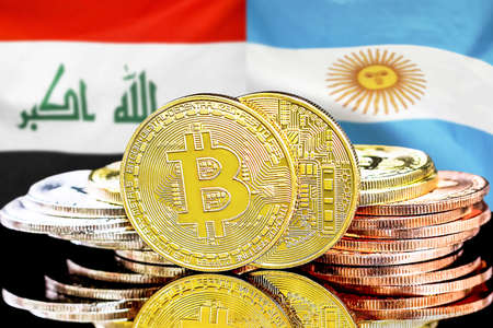 Concept for investors in cryptocurrency and Blockchain technology in the Iraq and Argentina. Bitcoins on the background of the flag Iraq and Argentina.