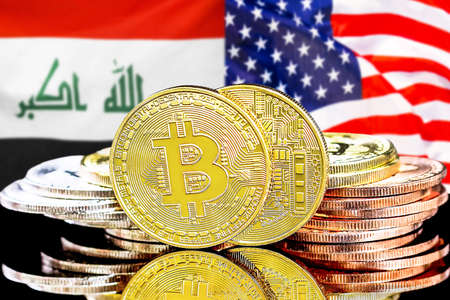 Concept for investors in cryptocurrency and Blockchain technology in the Iraq and United States of America. Bitcoins on the background of the flag Iraq and US. Foto de archivo