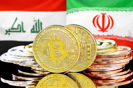 Concept for investors in cryptocurrency and Blockchain technology in the Iraq and Iran. Bitcoins on the background of the flag Iraq and Iran.