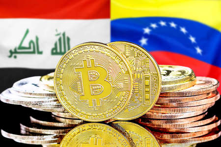 Concept for investors in cryptocurrency and Blockchain technology in the Iraq and Venezuela. Bitcoins on the background of the flag Iraq and Venezuela.