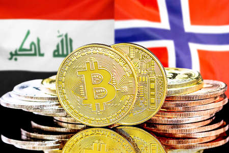 Concept for investors in cryptocurrency and Blockchain technology in the Iraq and Norway. Bitcoins on the background of the flag Iraq and Norway.