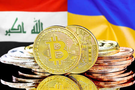 Concept for investors in cryptocurrency and Blockchain technology in the Iraq and Ukraine. Bitcoins on the background of the flag Iraq and Ukraine. Foto de archivo