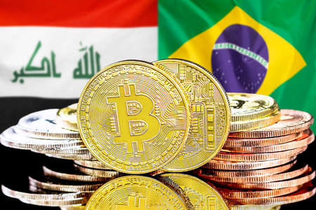 Concept for investors in cryptocurrency and Blockchain technology in the Iraq and Brazil. Bitcoins on the background of the flag Iraq and Brazil.