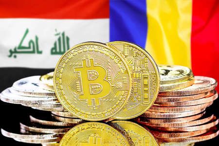 Concept for investors in cryptocurrency and Blockchain technology in the Iraq and Moldova. Bitcoins on the background of the flag Iraq and Moldova.