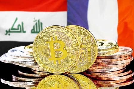 Concept for investors in cryptocurrency and Blockchain technology in the Iraq and France. Bitcoins on the background of the flag Iraq and France.