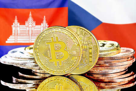 Concept for investors in cryptocurrency and Blockchain technology in the Cambodia and Czech Republic. Bitcoins on the background of the flag Cambodia and Czech Republic. Stock Photo