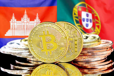 Concept for investors in cryptocurrency and Blockchain technology in the Cambodia and Portugal. Bitcoins on the background of the flag Cambodia and Portugal.