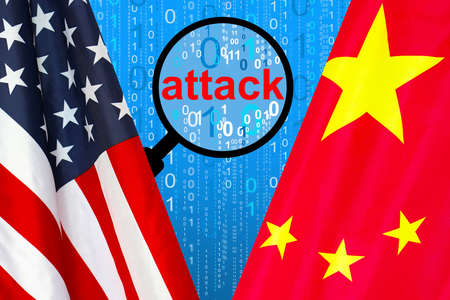 Flag of USA and China flag against the background of a binary code with magnifying glass. Chinese hacking USA. Concept of hacking into the computer and computer attack