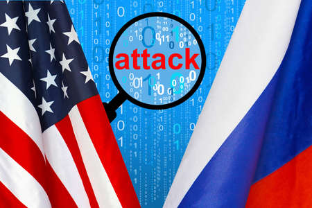 Flag of USA and Russia flag against the background of a binary code with magnifying glass. Russian hacking USA. Concept of hacking into the computer and computer attack