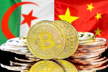 Concept for investors in cryptocurrency and Blockchain technology in the Algeria and China. Bitcoins on the background of the flag Algeria and China