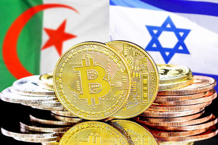 Concept for investors in cryptocurrency and Blockchain technology in the Algeria and Israel. Bitcoins on the background of the flag Algeria and Israel
