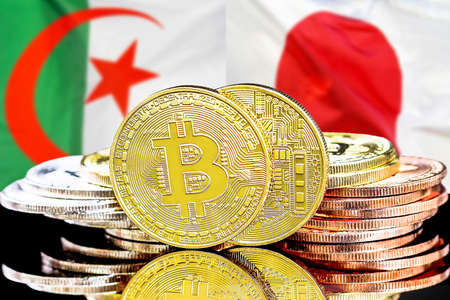 Concept for investors in cryptocurrency and Blockchain technology in the Algeria and Japan. Bitcoins on the background of the flag Algeria and Japan