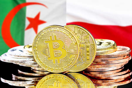Concept for investors in cryptocurrency and Blockchain technology in the Algeria and Poland. Bitcoins on the background of the flag Algeria and Poland Reklamní fotografie