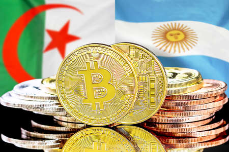 Concept for investors in cryptocurrency and Blockchain technology in the Algeria and Argentina. Bitcoins on the background of the flag Algeria and Argentina