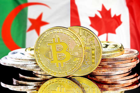 Concept for investors in cryptocurrency and Blockchain technology in the Algeria and Canada. Bitcoins on the background of the flag Algeria and Canada
