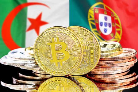 Concept for investors in cryptocurrency and Blockchain technology in the Algeria and Portugal. Bitcoins on the background of the flag Algeria and Portugal