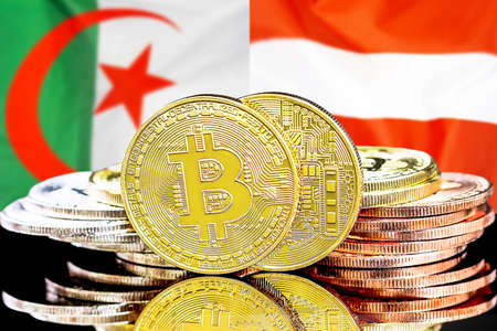 Concept for investors in cryptocurrency and Blockchain technology in the Algeria and Austria. Bitcoins on the background of the flag Algeria and Austria