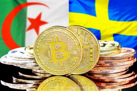 Concept for investors in cryptocurrency and Blockchain technology in the Algeria and Sweden. Bitcoins on the background of the flag Algeria and Sweden