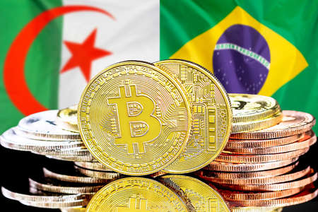 Concept for investors in cryptocurrency and Blockchain technology in the Algeria and Brazil. Bitcoins on the background of the flag Algeria and Brazil Reklamní fotografie