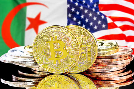 Concept for investors in cryptocurrency and Blockchain technology in the Algeria and US. Bitcoins on the background of the flag Algeria and USA