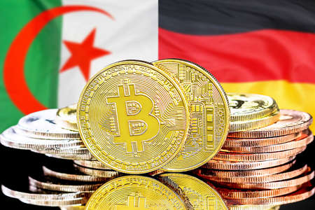Concept for investors in cryptocurrency and Blockchain technology in the Algeria and Germany. Bitcoins on the background of the flag Algeria and Germany