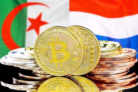 Concept for investors in cryptocurrency and Blockchain technology in the Algeria and Netherlands. Bitcoins on the background of the flag Algeria and Dutch