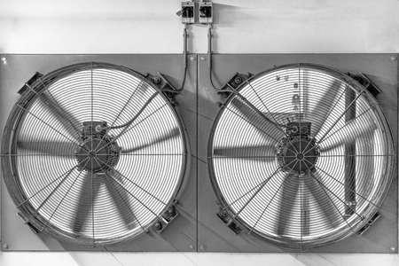 Large fan for ventilation underground parking. Industrial fan close-up.