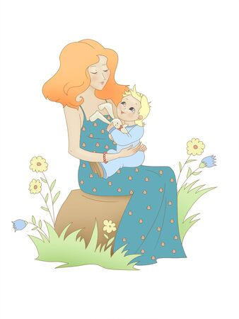 Mother with child sits among flowers and herbs