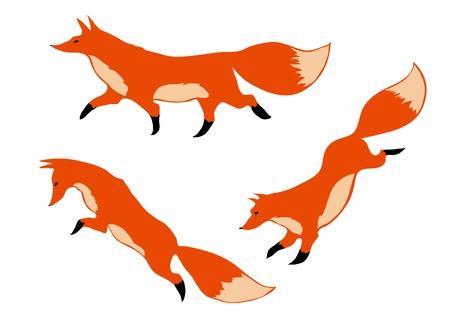 drie rode vossen in beweging op een witte achtergrond Stock Illustratie