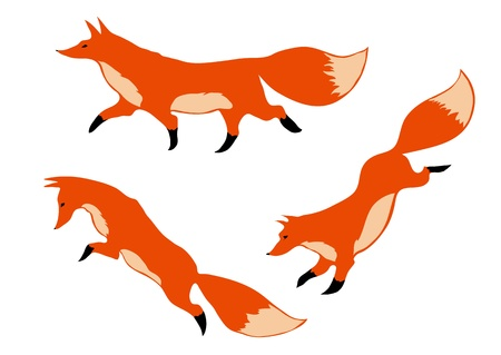 three red foxes in motion on a white background Ilustrace