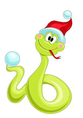 merry Christmas snake in the cap with snowball Vector
