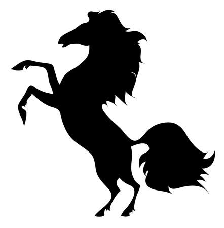 the silhouette of a horse standing on their hind legs on a white background
