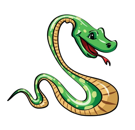 Funny green snake on a white background Illustration