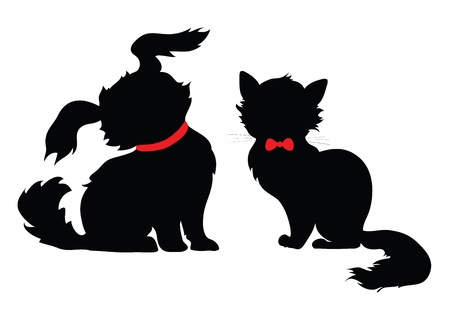 silhouette sitting cats and dogs on a white background