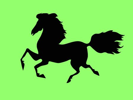the silhouette of the running horse on a green background