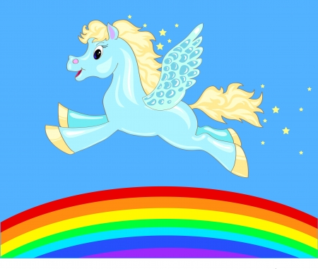 a small flying Pegasus and the sky with a rainbow 일러스트