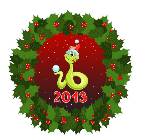 Christmas wreath of leaves and berries, cheerful snake in the cap and snow Vector