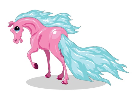 a little pink horse with a blue tail and mane