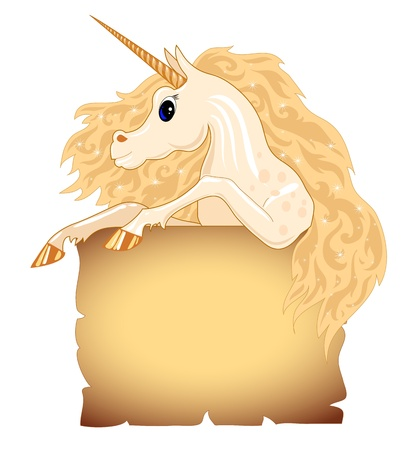 Background with old paper and a unicorn with a wavy mane Stock Vector - 16576580