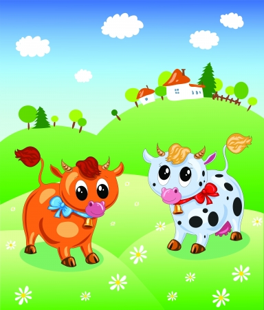 cow and bull in a meadow of flowers near a farm Stock Vector - 16581180