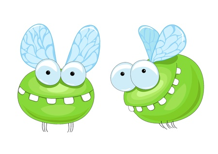 small green midge with big teeth Illustration
