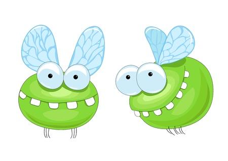 kleine groene midge met grote tanden Stock Illustratie
